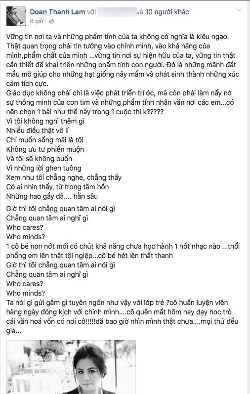 Dòng trạng thái gây tranh cãi của Thanh Lam.
