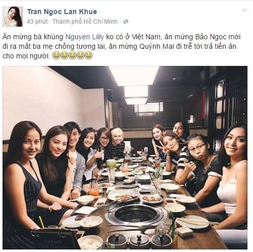 """Các đây không lâu, Lan Khuê vừa khoe trên facebook cá nhân của mình bữa tiệc nhỏ cùng các thí sinh """"The face"""". - Tin sao Viet - Tin tuc sao Viet - Scandal sao Viet - Tin tuc cua Sao - Tin cua Sao"""