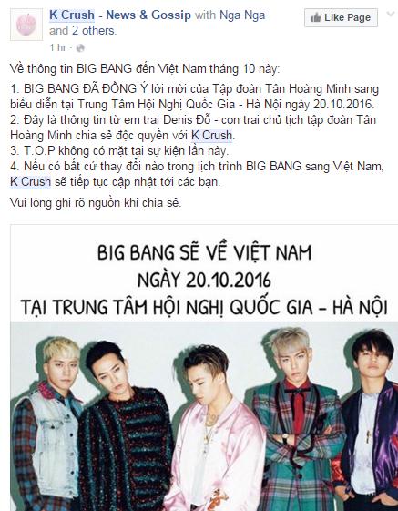 Big Bang sẽ đến Việt Nam vào ngày 20/10 năm nay. (Nguồn:K Crush - News & Gossip)