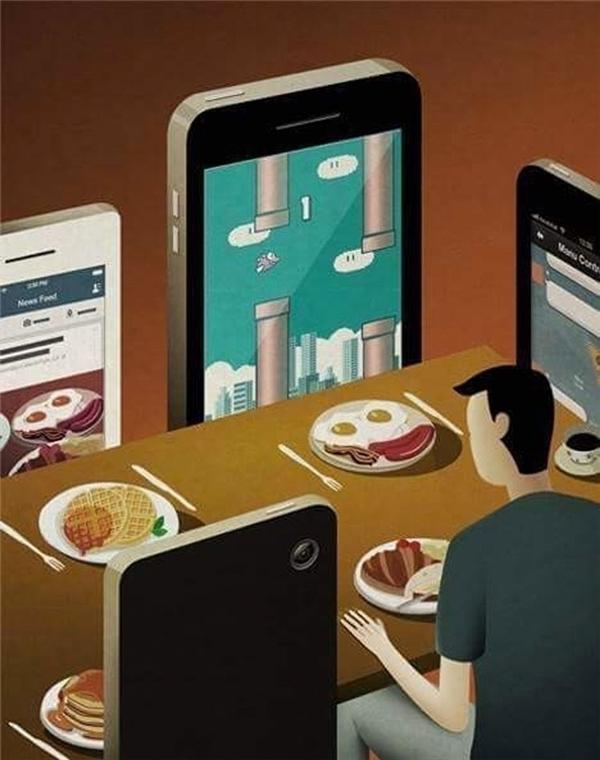 Cảm giác thật lạc lõng khi phải ngồi chung bàn, ăn chung mâm với những chiếc smartphone.
