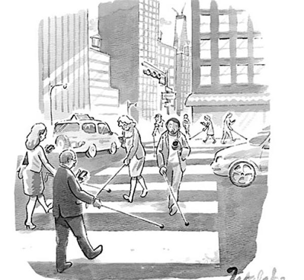 Ôm smartphone ra đường, ai cũng hóa thành người mù.