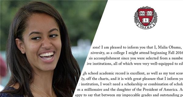 Malia vinh dự được nhận vào Đại học Harvard danh tiếng.