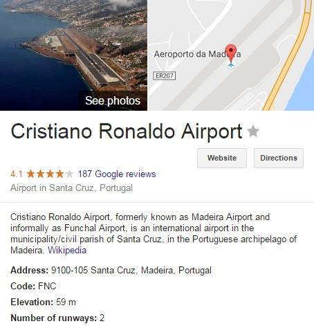 Thư viện Wikipedia cập nhật sân bay Quốc tế Madeira được đổi tên thành Cristiano Ronaldo.