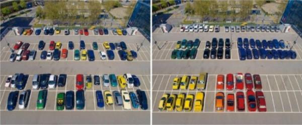 Xe hơi trong bãi cũng phải được đỗ theo màu sắc mới được.