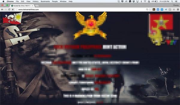 Trang web của Vietnam Airlines bị nhóm hacker 1937CN thay đổi giao diện. (Ảnh: internet)
