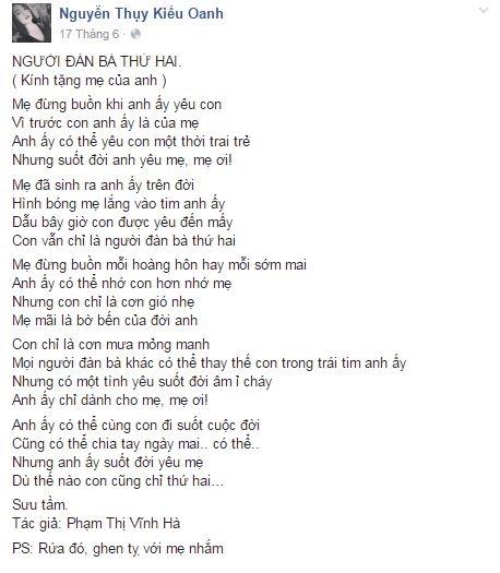 Cách đây vài ngày, vợ Duy Nhân cũng chia sẻ một bài thơ cảm động mà cô sưu tầm được trên mạng xã hội để gửi tặng mẹ Duy Nhân. - Tin sao Viet - Tin tuc sao Viet - Scandal sao Viet - Tin tuc cua Sao - Tin cua Sao