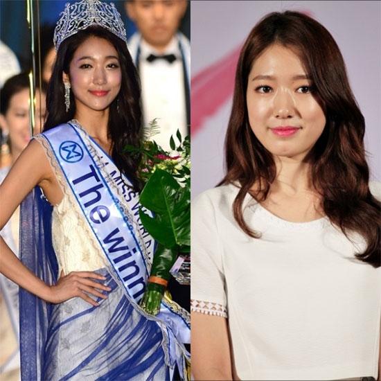 """Hoa hậu Thế giới Hàn Quốc 2014 Song Hwa Young bị cho là """"phiên bản lỗi"""" của nữ diễn viên Park Shin Hye."""