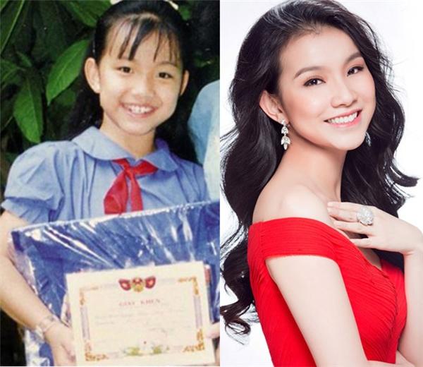 """Dễ dàng nhận thấyngay từ khi còn nhỏ, Hoa hậu Thùy Lâm đã sở hữunhan sắc ưu tú với sống mũi cao thẳng tắp, đôi mắt to tròn cuốn hút và nụ cười """"tỏa nắng""""vô cùng duyên dáng, rạng rỡ."""