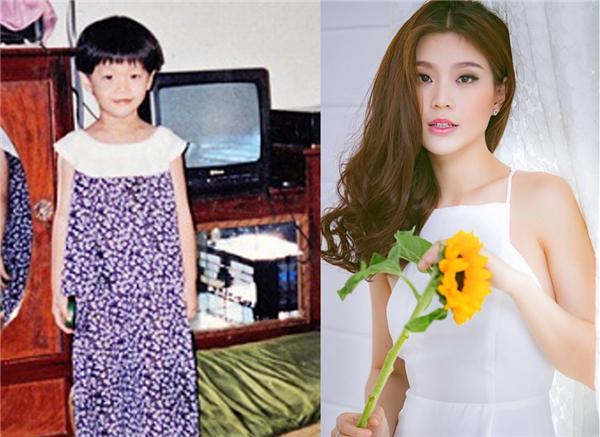 Dù trông hơi gầy ốm nhưngDiễm Trang vẫn có nét xinh xắn, duyên dáng từ nhỏ. Lớn lên, Á hậungày càng trưởng thành và hoàn thiện vẻ đẹp của mình hơn.