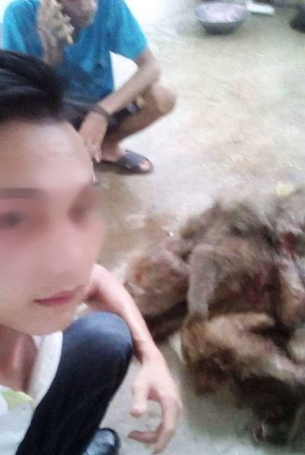Bức ảnh tự sướng với bầy khỉ bị giết hại dã man gây phẫn nộ. (Ảnh: FBNV)