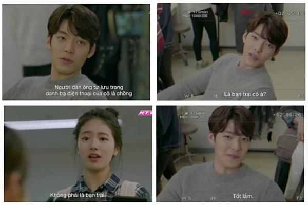 """Trước đó, trong một tập phim củaUncontrollably Fond, Shin Joon Young (Kim Woo Bin) cũng không ngần ngại nhiều lần tra hỏi về hồ sơ yêu đương của No Eul (Suzy). Sau khi hỏi về bạn trai, ngôi sao điển trai còn """"chai mặt"""" tung hô bản thân: """"Tôi nghe giọng nói chẳng ra gì, nghe thôi là cảm thấy rất xấu trai.""""."""