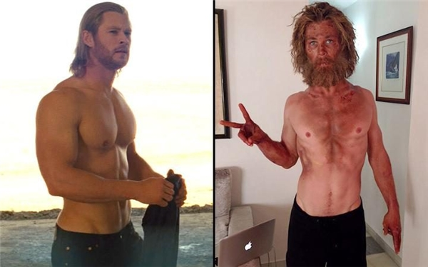 """Tấm ảnh chụp thân hình còm cõi của Chris được chính anh đăng lên Instagram trước ngày phim ra mắt một tháng kèm chú thích: """"Không khuyến khích các bạn theo chế độ ăn này đâu."""""""