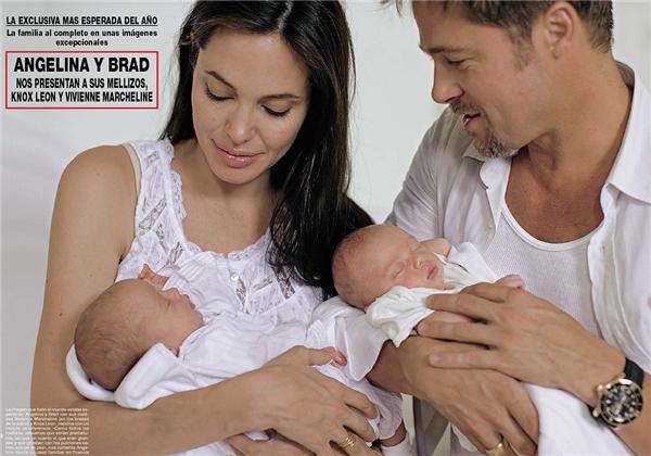 Năm 2008, Angelina sinh hạ cặp song sinh một trai, một gái cho Brad Pitt.