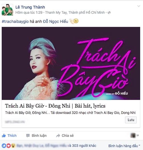 """Tân binh ERIK (St.319) cũng chia sẻ đường link bản hit mới của """"đàn chị"""" Đông Nhi trên trang cá nhân. - Tin sao Viet - Tin tuc sao Viet - Scandal sao Viet - Tin tuc cua Sao - Tin cua Sao"""