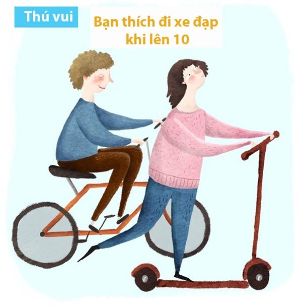 Lúc chưa biết đi xe đạp là tập ngày tập đêm. Lúc biết đi rồi á, cứ xách xe đạp chạy đêm chạy ngày vậy thôi. Đi một mình đâu có vui. Phải hú gọi thêm mấy đứa trong xóm thi xe đạp đua mới chịu.