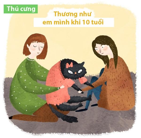 Lúc nhỏ, mẹ mang về một em mèo hay em cún là mừng gì đâu, thương như em ruột. Có miếng cơm, miếng cá hay miếng bánh gì cũng dành cho em.