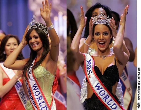 """Sự cố nghiêm trọng ở Hoa hậu Quý bà Thế giới lại xuất phát từ việc quá hấp tấp của đương kim hoa hậu. Khi MC công bố: """"Danh hiệu Á hậu 1 thuộc về Mrs Costa Rica và đoạt ngôi vị Mrs World 2006 là người đẹp Nga"""" thì đương kim Hoa hậu lại đến trao băng đeo và vương miện cho người đẹp Costa Rica. Khán giả vô cùng ngỡ ngàng và bất ngờ với những gì đang diễn ra trên sân khấu. Sau đó, vương miện được trao lại cho chủ nhân đích thực (phải)."""