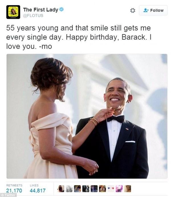 Đệ nhất phu nhân MĩMichelle Obama và lời chúc mừng sinh nhật ngọt ngào tới Tổng thống Obama.