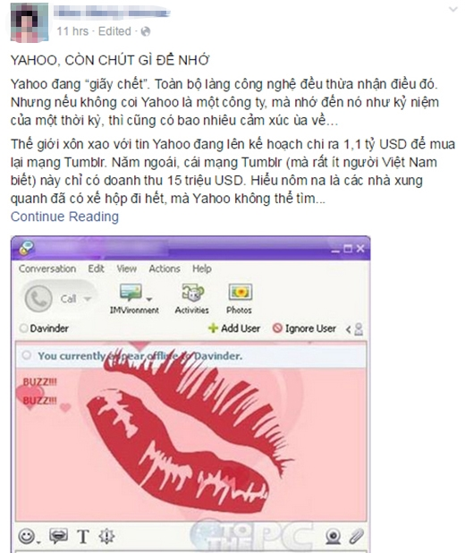 """""""Tâm thư"""" của một bạn trẻ muốn gửi lời chia tay với Yahoo Messenger"""