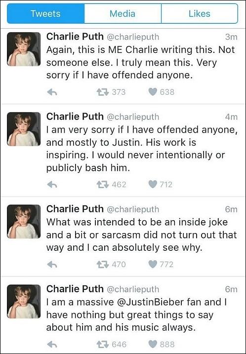 Charlie rối rít xin lỗi Justin.