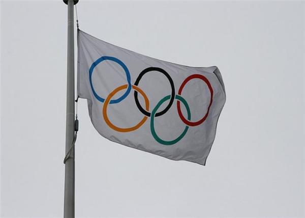 Lá cờ Olympic.