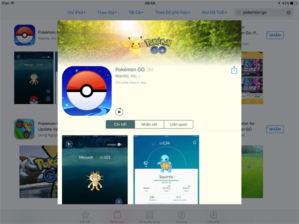 Pokémon GO trên App Store. (Ảnh: internet)