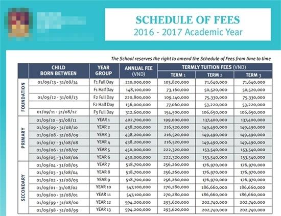 Bảng chi phí học tập tại ngôi trường hạng sang mà Subeo đang theo học. - Tin sao Viet - Tin tuc sao Viet - Scandal sao Viet - Tin tuc cua Sao - Tin cua Sao
