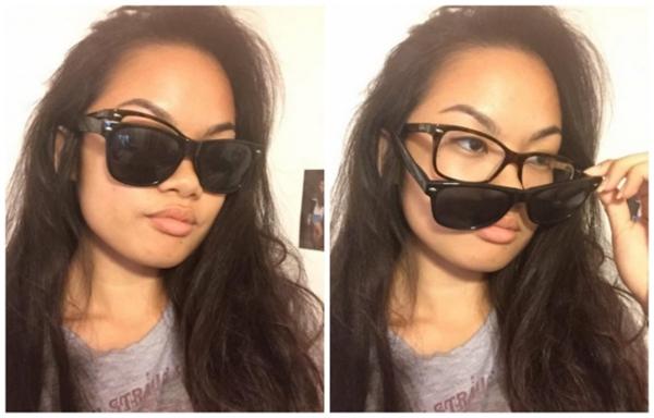 Đã đeo kính cận sẽ không đeo được kính râm đâu, đừng cố gắng.