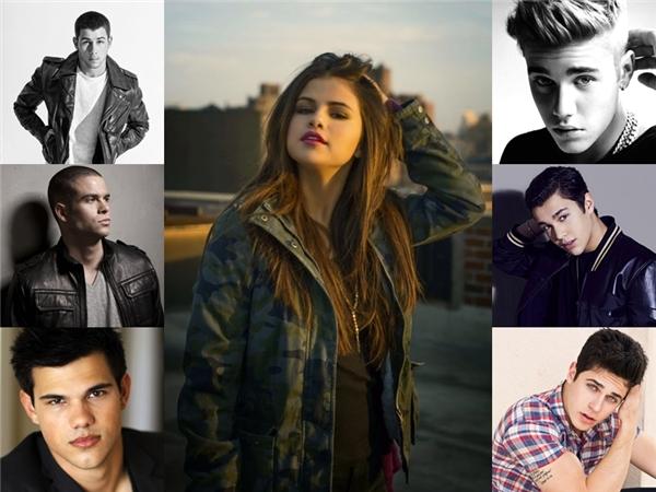 """Không hề kém cạnh Taylor, Selena cũng từng """"sưu tập"""" 1 dàn trai đẹp."""