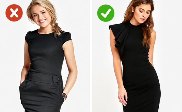 Nếu đã lựa chọn trang phục màu đen phải đảm bảo đó là sắc đen thuần nhất cổ điển bởi những tông màu lai thường tạo cảm giác như bị sờn, cũ kĩ.
