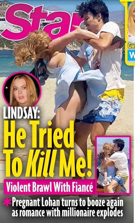 Tạp chíStargây sốc khi đăng tải hình ảnh Lindsay Lohan bị bạn trai bạo hành lên trang nhất.