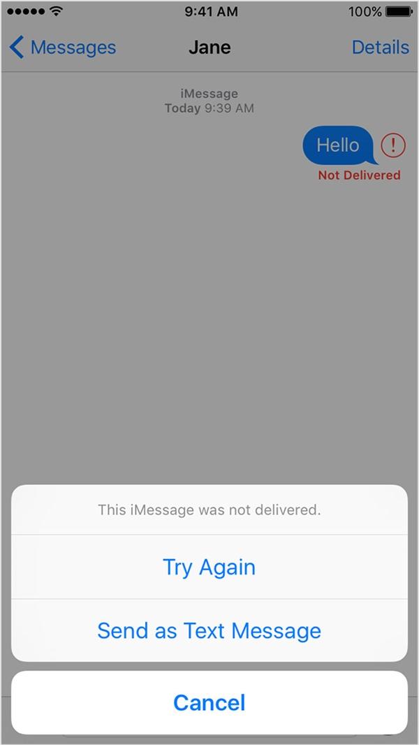 Bấm vào Try Again để thử gửi lại tin nhắn một lần nữa. (Ảnh: internet)