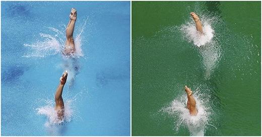 Mặc dù chỉ mới cách nhau có một buổi thế nhưng màu nước ở bể bơi đã chuyển hoàn toànsang màu xanh lá.