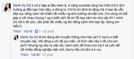Vy Oanh giải thích hành động viết dòng chia sẻ trên trang cá nhân và gửi lời xin lỗi đến quản lí truyền thông của Hari Won. - Tin sao Viet - Tin tuc sao Viet - Scandal sao Viet - Tin tuc cua Sao - Tin cua Sao