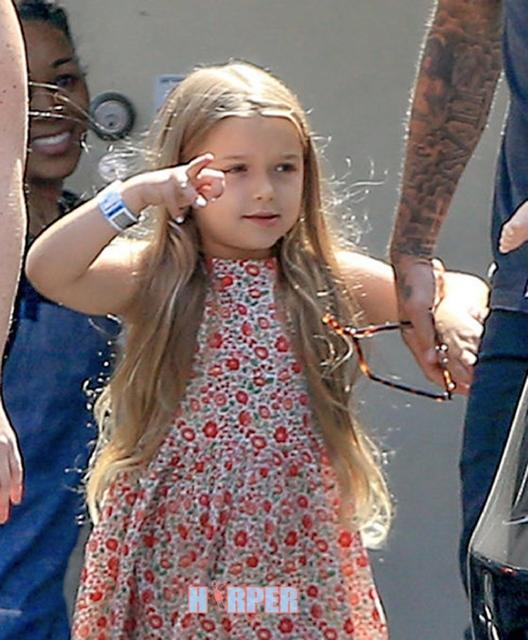 """David Beckham không ngần ngại cầm búp bê cho """"công chúa nhỏ"""", còn cô bé Harper thì quấn lấy bố vànghịch ngợmchỉ trỏ cánh phóng viên."""