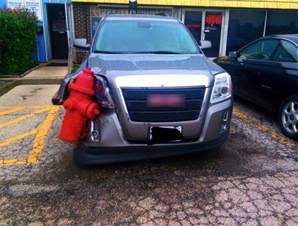 """Thực sự cho dù anh có muốn trang bị một bình cứu hỏa trong ô tô của mình thì cũng đâu cần """"hốt"""" luôn trụ cứu hỏa ngoài đường bằng cách quá ư là ấu trĩ như vậy chứ."""