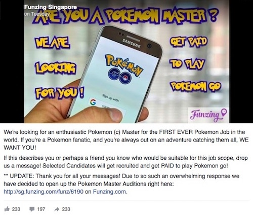 Bản tin tuyển cao thủ săn Pokemon của công ty Funzing. (Ảnh: internet)