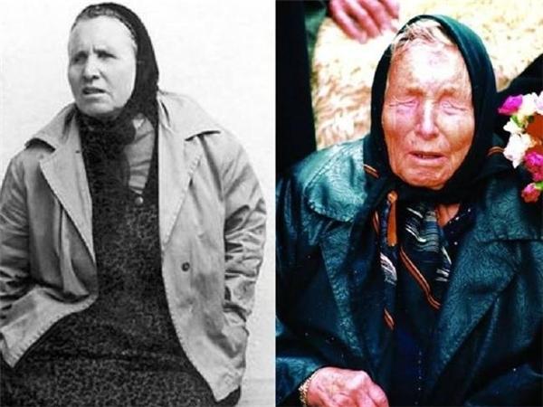 """BàVanga lúc trẻ (bên trái) và khi cuối đời (bên phải) được mệnh danh là """"nhà tiên tri mù lòa nhìn thấu tương lai""""."""