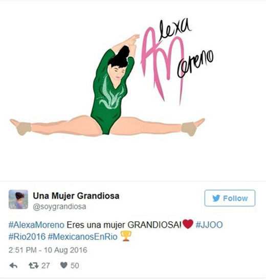"""Nhưng lời khen ngợi Alexa dễ dàng nhấn chìm thiểu số chê bai. Rất nhiều khán giả ngưỡng mộ nữ VĐV 22 tuổi. Trong ảnh, một tài khoản gọi Alexa là """"người phụ nữ vĩ đại""""."""