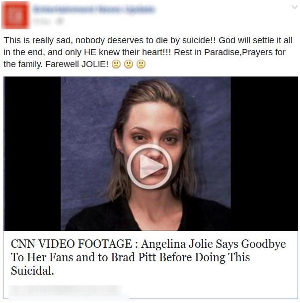 Fanpage đăng tải thông tin Angelina Jolie tử tử nhằm câu view và đánh cắp tài khoản cá nhân.