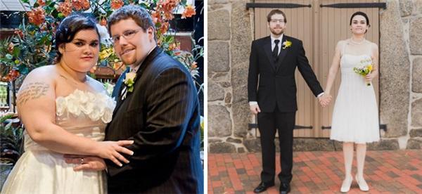 Để tạo điều bất ngờ cho buổi lễ kỉ niệm 4 năm ngày cưới, người vợ đãgiảm 49kg, người chồng giảm 58kg để không phải chui mình vào bộ trang phục cưới quá khổ.