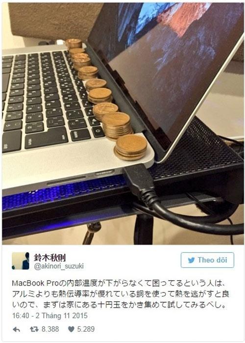 Phương pháp giải nhiệt cho MacBook củaakinori_suzuki. (Ảnh: internet)