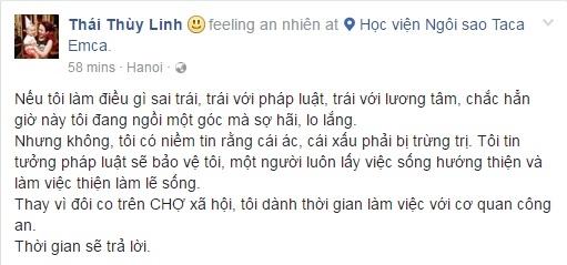 Thái Thùy Linh chia sẻ quan điểm về sự việc bị tố lừa đảo trên trang facebook cá nhân. - Tin sao Viet - Tin tuc sao Viet - Scandal sao Viet - Tin tuc cua Sao - Tin cua Sao