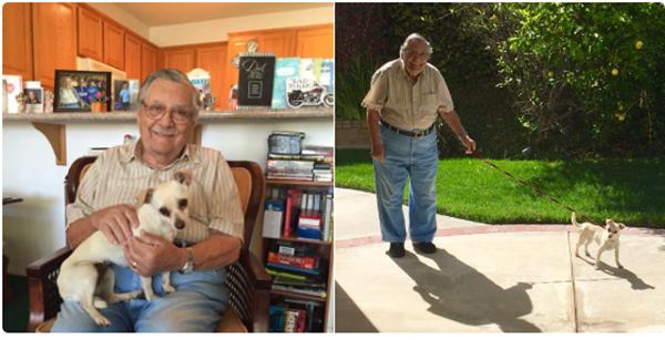 """""""Ba tui vừa được tặng một chú chó và xem ông hạnh phúc cỡ nào khi dẫn chó đi dạo kìa"""".(Ảnh: BuzzFeed)"""