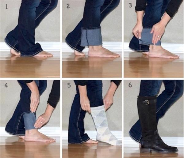 10. Đây là cách dễ dàng cho quần bò ống rộng vào đôi bốt chỉ sau 6 bước.