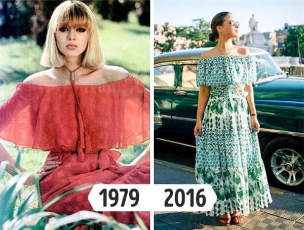 Loại trang phục này luôn chiếm ưu thế mỗi khi hè về bởi vẻ ngoài điệu đà, trẻ trung và tiện lợi. Sang những ngày đầu thu, váy maxi vẫn có được chỗ đứng riêng bởi hòa hợp với tiết trời trong xanh, mát mẻ. Váy maxi trễ vai từng lên ngôi ở những năm 70, 80 của thế kỉ trước.