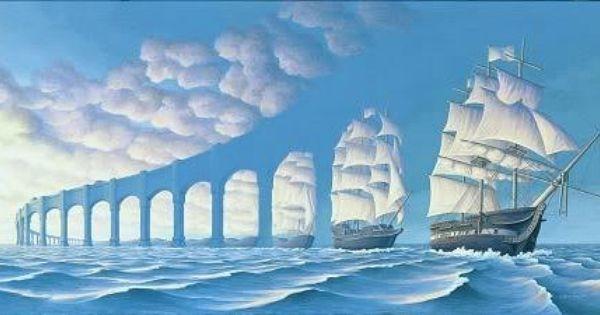 Đây là một đoàn thuyền buồm nối đuôi nhau hay chỉ là một hàng cột?