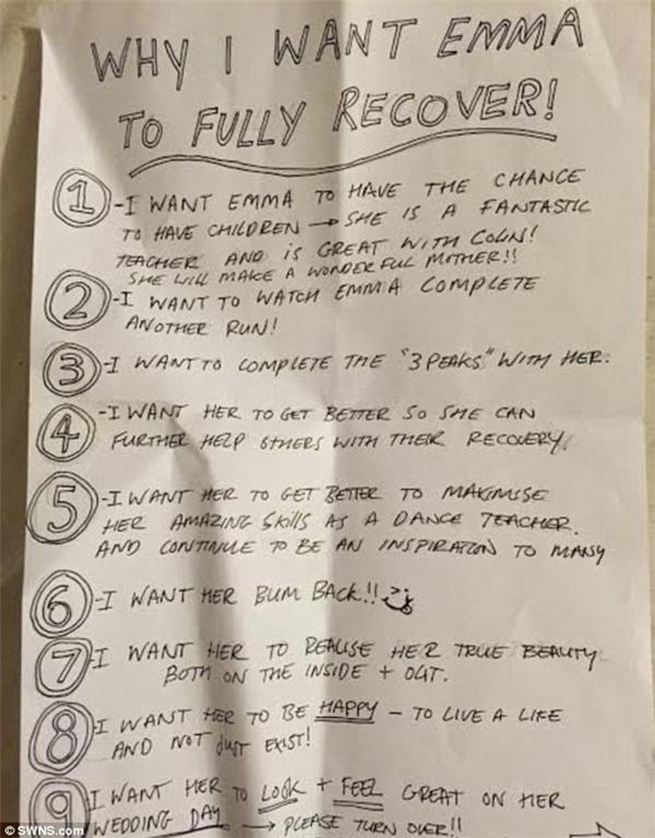 """Chris viết một """"bản yêu sách"""" dành cho Emma, liệt kê 10 lí do anh muốn cô khỏe mạnh hơn.(Ảnh: DailyMail)"""