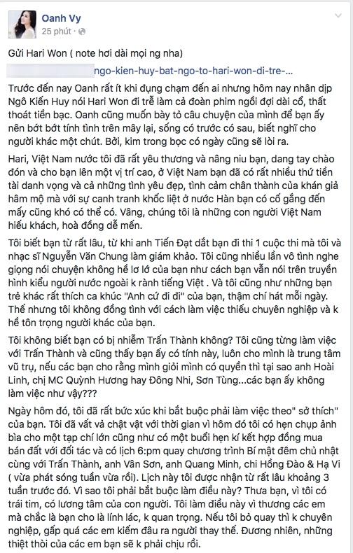 """""""Tâm thư"""" của Vy Oanh bức xúc về thái độ làm việc thiếu chuyên nghiệp của Hari Won. - Tin sao Viet - Tin tuc sao Viet - Scandal sao Viet - Tin tuc cua Sao - Tin cua Sao"""