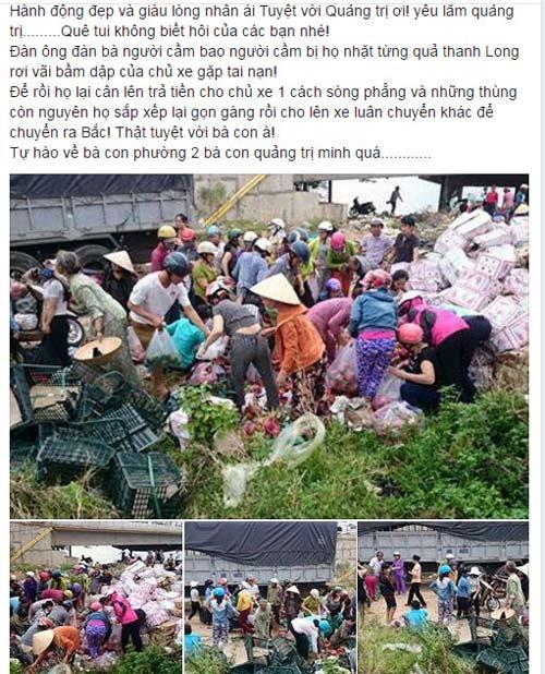 Theo lời chủ nhân của những bức ảnh này, bạn Nguyễn Thành, thì sự việc xảy ra vào buổi sáng và đến chiều, số trái cây trong hơn 100 thùng đã được người dân mua hết.